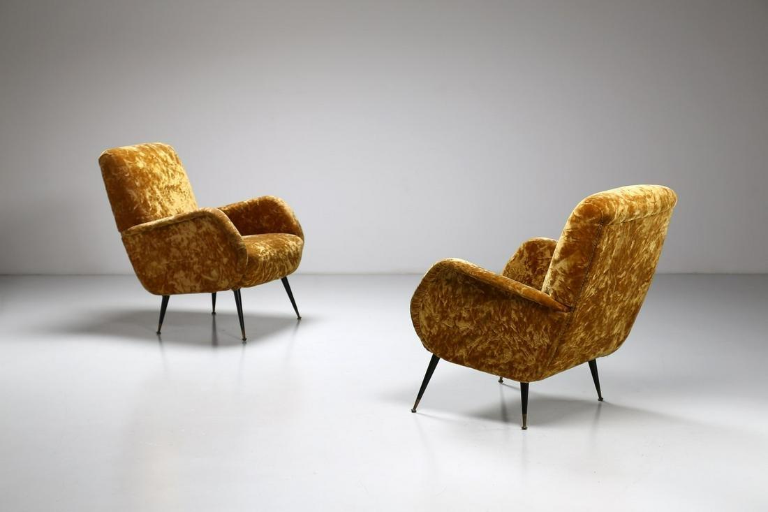 MANIFATTURA ITALIANA   Pair of armchairs, 60s. (2).