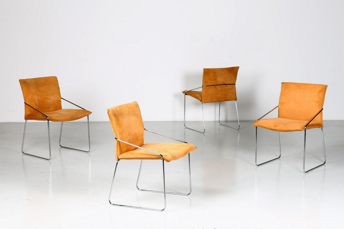 MANIFATTURA ITALIANA   Four armchairs, 70s. (4).