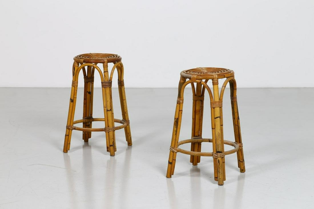 MANIFATTURA ITALIANA   Pair of stools, 50s. (2).