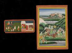 Arte Indiana Two Indian miniatures India, 19th-20th