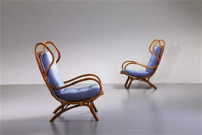 GIO PONTI Pair of Continuum armchairs, Bonacina