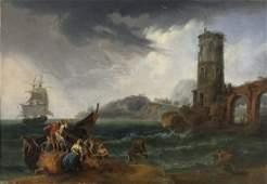 JOSEPH VERNET Stormy ships.