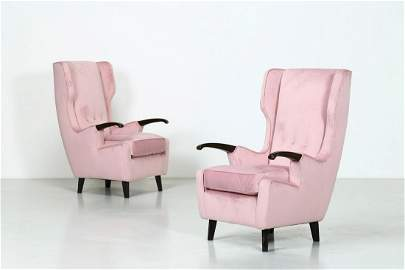 PIER LUIGI COLLI Rol model pair of armchairs , 1950s.