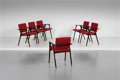 FRANCO ALBINI Six Luisa chairs, Poggi production.