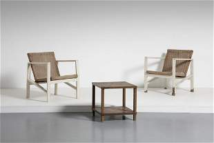 GIORGIO  WENTER MARINI Pair of chairs with coffee