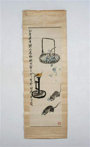 Arte Cinese  A Qi Bai Shi style scroll painted with