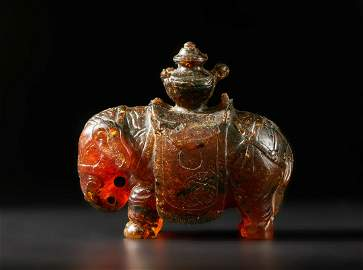 Arte Cinese  An amber (burmite) elephant figure China,
