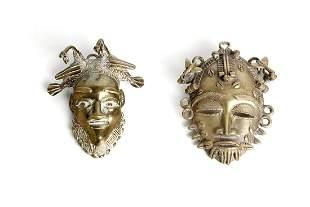 Arte africana  Two bronze passport masks,