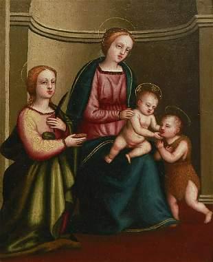 ARTISTA DEL XVI SECOLO Madonna with Child, Saint John