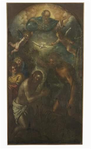 ARTISTA VENETO DEL XVI SECOLO Baptism of Christ.
