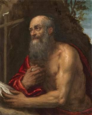 ARTISTA VENETO DEL XVI SECOLO Penitent Saint Jerome.