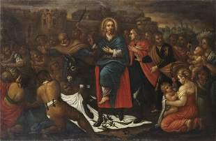 ARTISTA VENETO DEL XVII SECOLO Triumphal entry of Jesus