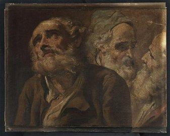 MAURO GANDOLFI Three heads of bearded men. .