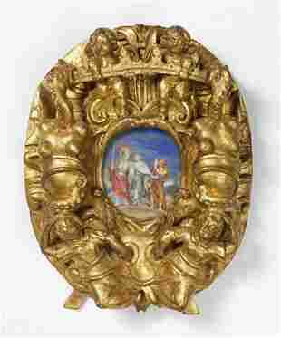 MANIFATTURA FRANCESE DEL XVIII SECOLO Rare oval shaped