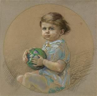 GINO PICCIONI Portrait of a child with a ball.