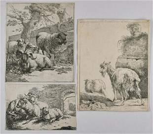 JOHANN HEINRICH ROOS Group of three engravings