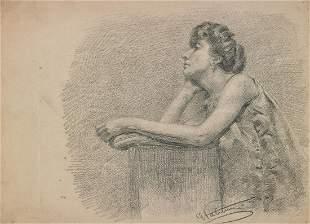 ARTISTA DEL XX SECOLO Study for a female portrait.