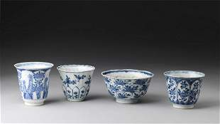 Arte Cinese A group of four blue and white porcelain