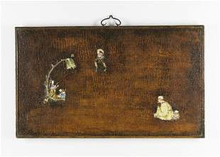 Arte Cinese A wooden lacquered panel decorated with