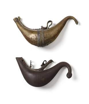 Arte Islamica Two horn shaped metal powder flasks