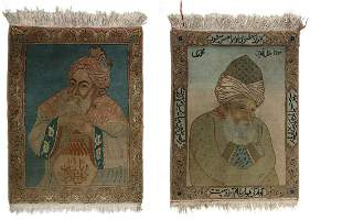 Arte Islamica Two Persian wool carpets decorated with