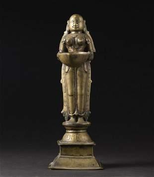 Arte Indiana A bronze oil lamp India, 19th century .