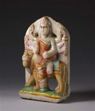 Arte Indiana A polychrome marble figure of Durga over
