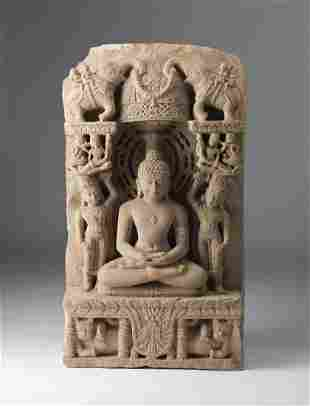 Arte Indiana A Jain sandstone sculpture of a