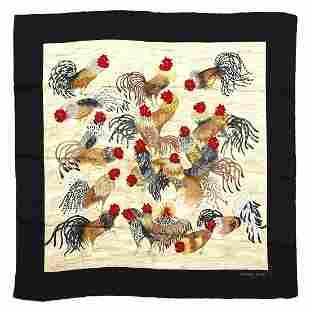HERMES PARIS Silk foulard. The roosters.