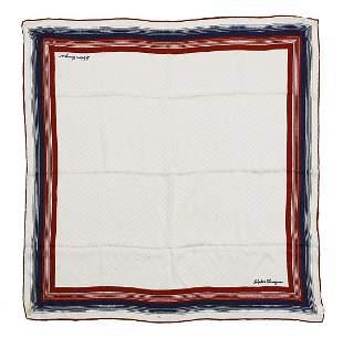 SALVATORE FERRAGAMO Multicolored foulard (cream, blue