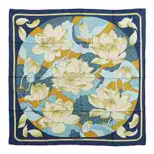 HERMES PARIS Fleurs de lotus silk scarf.
