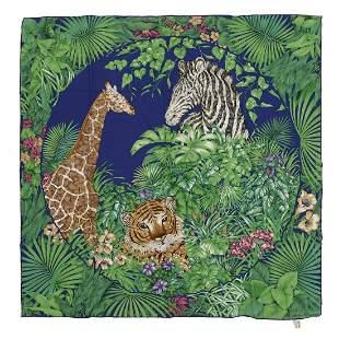 SALVATORE FERRAGAMO Silk foulard. Tiger, giraffe and