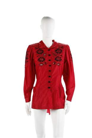 CINZIA BARAGNESI Red shirt with cutwork embroidery