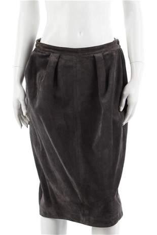 YVES SAINT LAURENT Gray suede leather midi skirt.