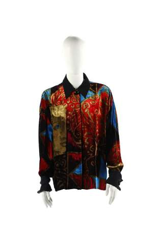 GIANNI VERSACE Blouse in silk velvet with iconic