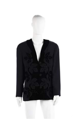 MILA SCHON Silk and leather jacket with velvet