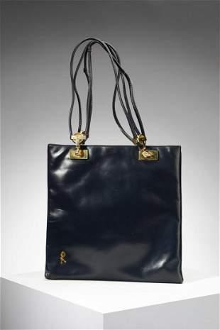 ROBERTA DI CAMERINO Handbag in blue leather and golden