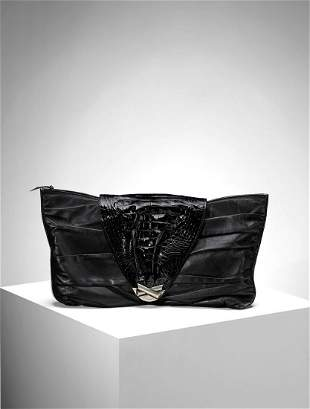 GIANNI VERSACE Black leather and patent clutch with