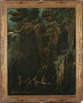 4: PITTORE DEL XIX SECOLO - Paesaggio roccioso con lava