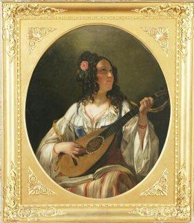 ARTISTA DEL XIX SECOLO - Suonatrice Di Mandolino.