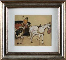 31: VINCENZO ROMANELLI - Carrozzella con cavallo bianco