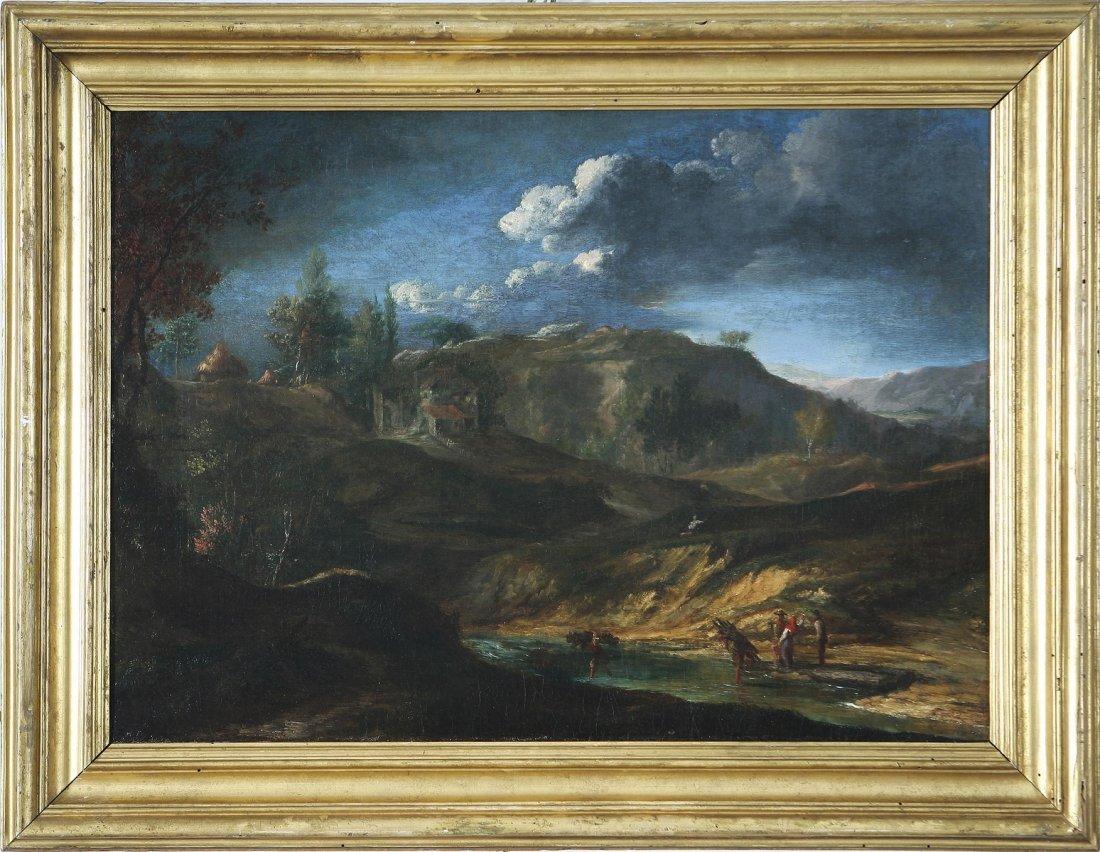 120: PITTORE DEL XVIII SECOLO - Paesaggio montano con b
