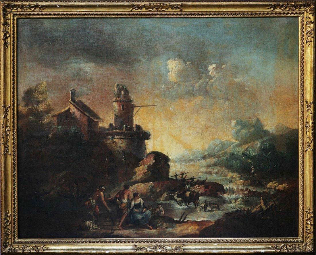 127: (Scuola di) ZAIS GIUSEPPE - Paesaggio con pescator