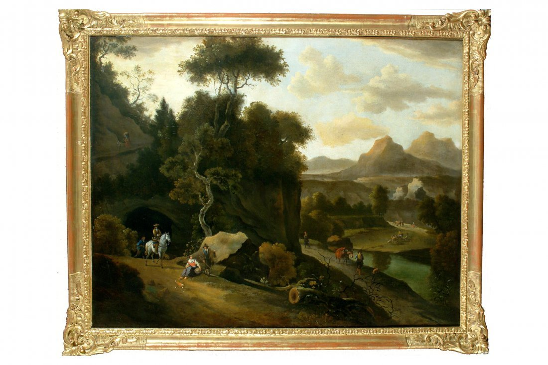 131: JAN HACKAERT - Paesaggio montano con fiume alberi