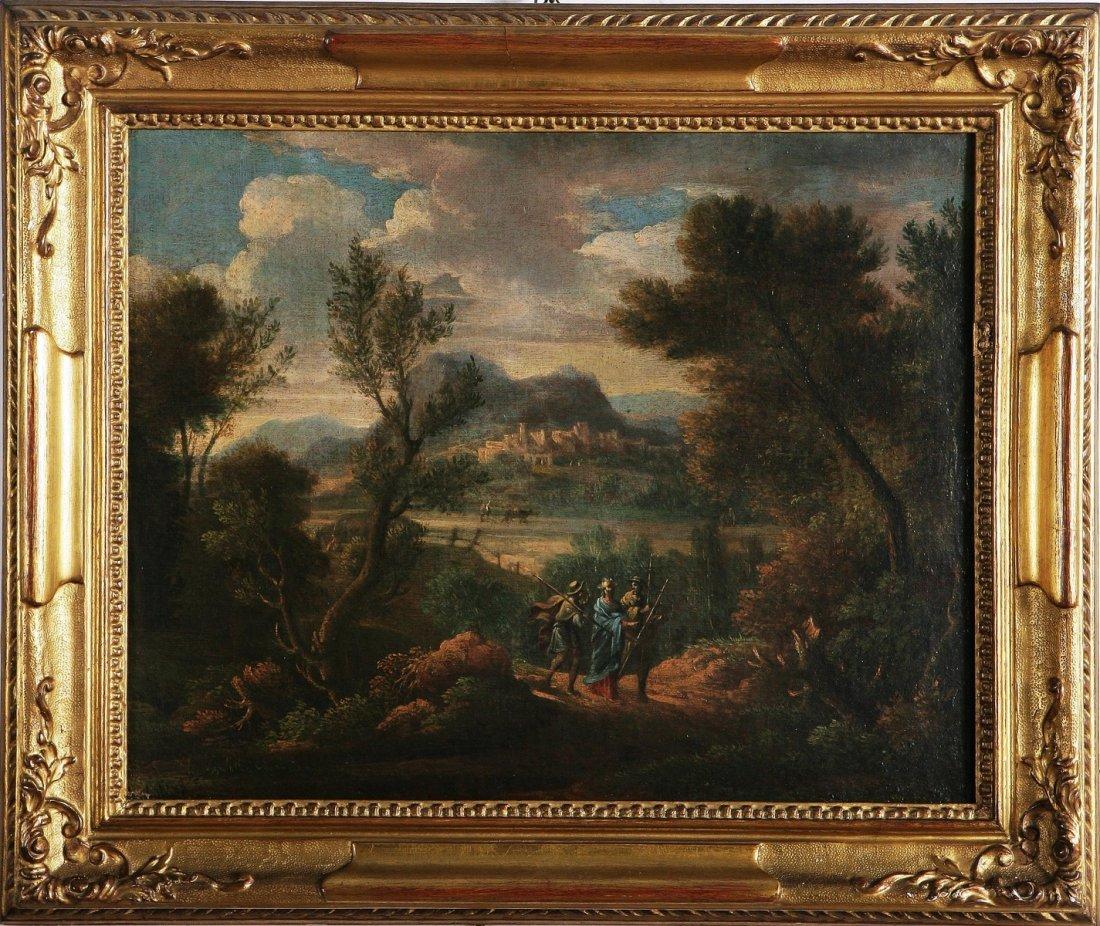 134: ANDREA LOCATELLI - Paesaggio con viandanti,
