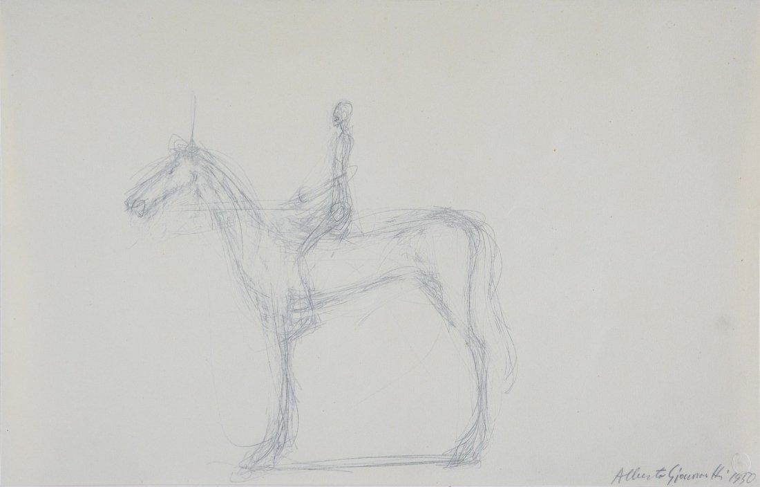 GIACOMETTI ALBERTO (1901 - 1966) - Cavallo e cavaliere.