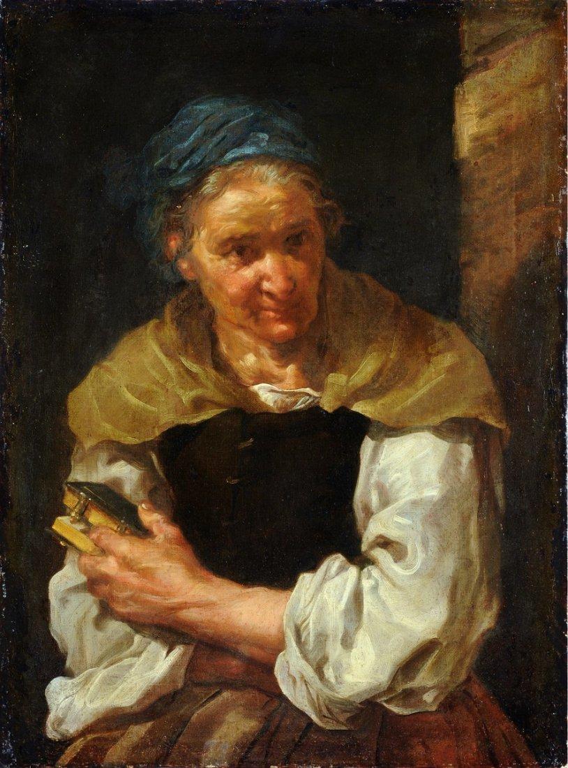 BERNHARD KEIL - Ritratto di anziana con libro.
