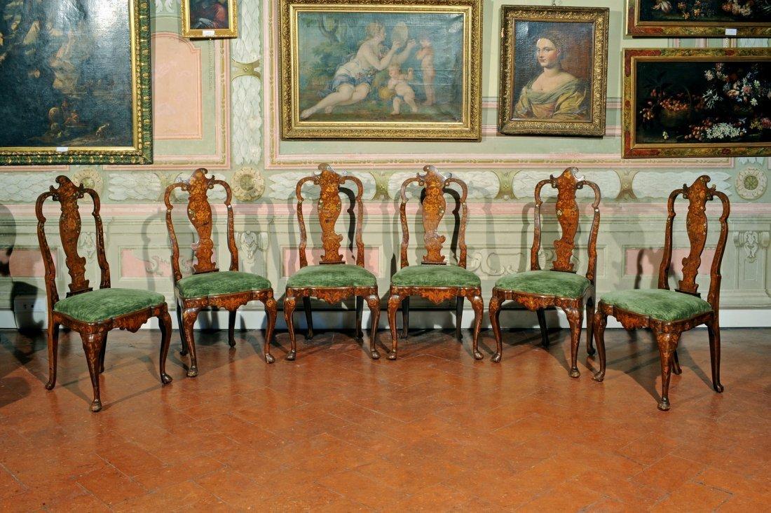 MANIFATTURA OLANDESE DEL XVIII - Gruppo di sei sedie