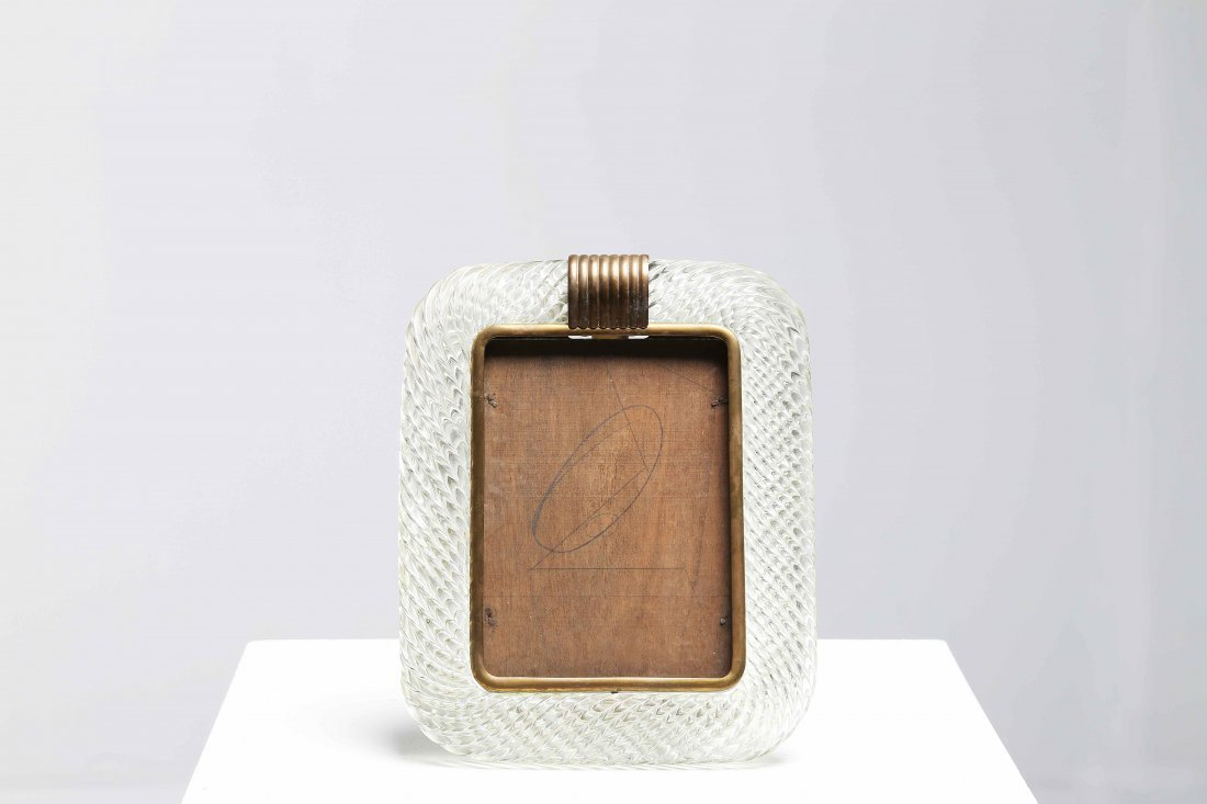 MANIFATTURA MURANESE  Picture frame in glass, brass and