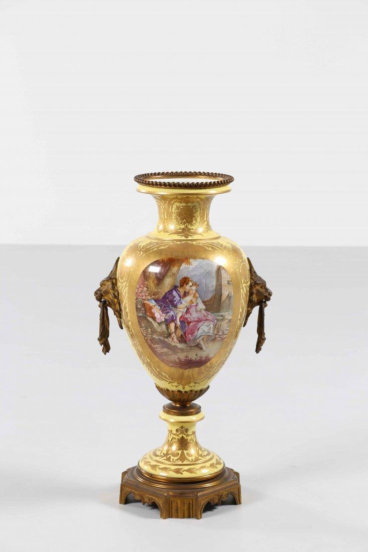 LAST XIX SEVRES MANUFACTURE Vase with gilded bronze